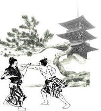 Calugarii antrenandu-se in in Kenpo in vecinatatea templului Kosho - al batrinului Pin